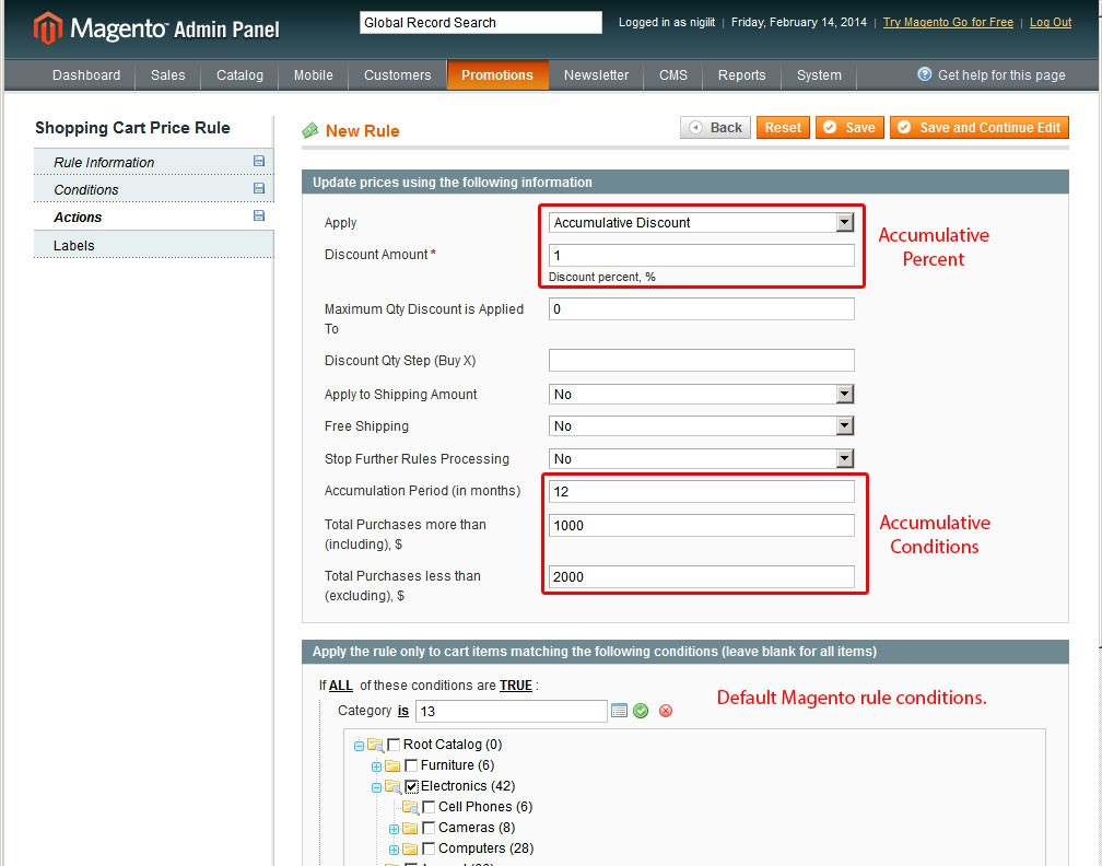 Add Rule Actions for Magento Accumulative Discounts