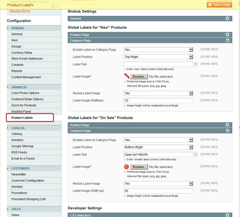 Options of  Magento Product Labels on admin end