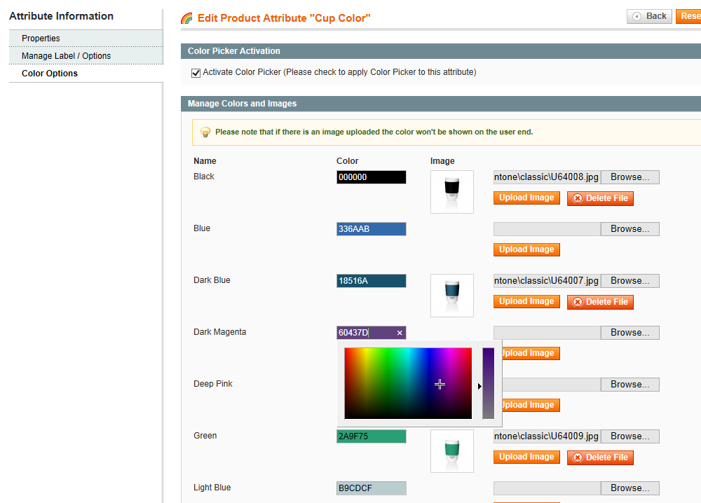 Magento Color Picker for Configurable Products