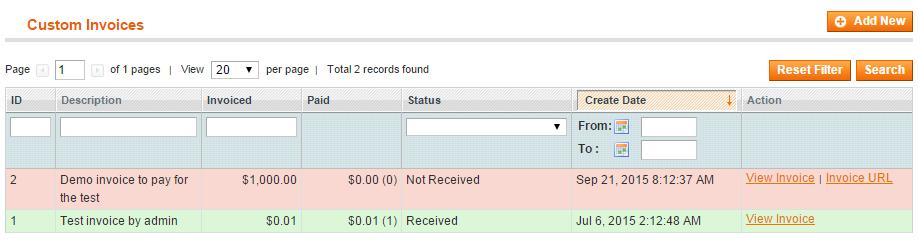 Magento Custom Invoices Generator list on admin end