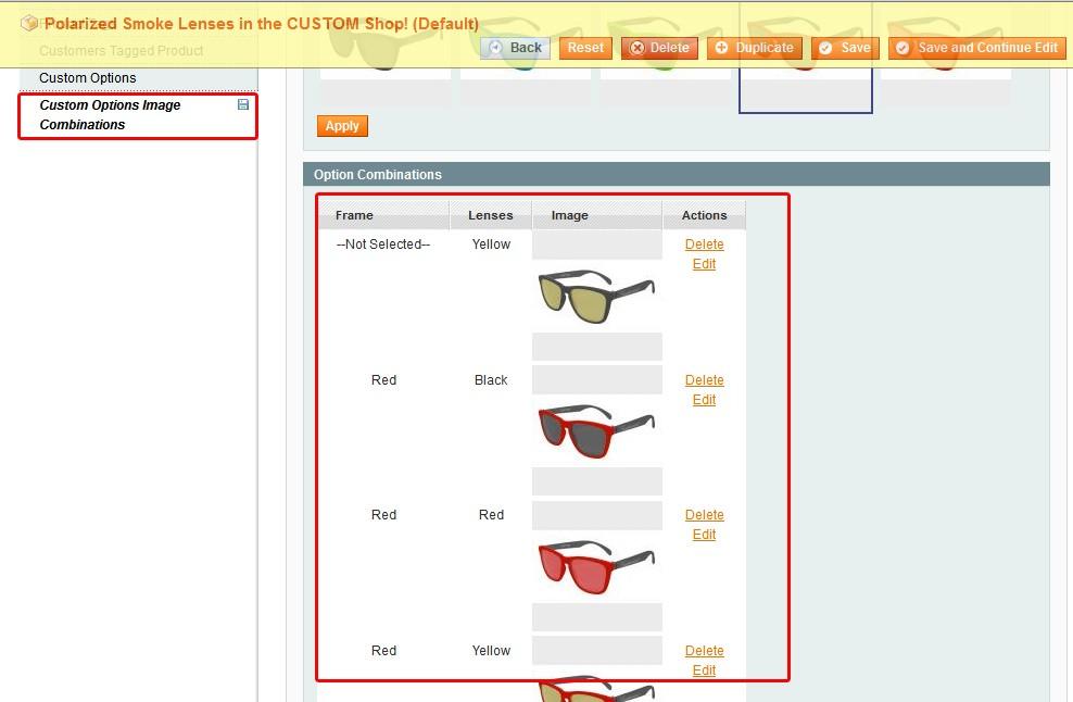 Magento product custom options stock