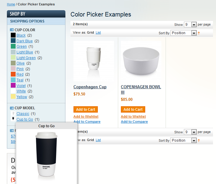 Magento Color swatch view on category list