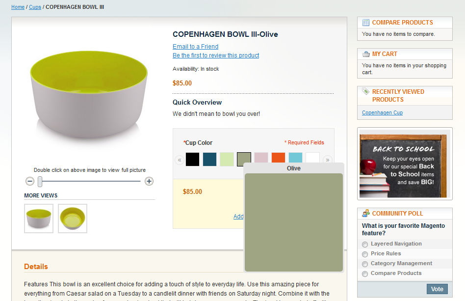 Magento Color Picker with over effect on product page