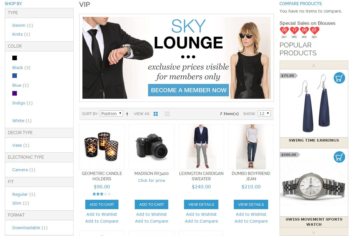 Vertical Slider with 2 cells chosen to show in the right hand column of Magento CE 1.9