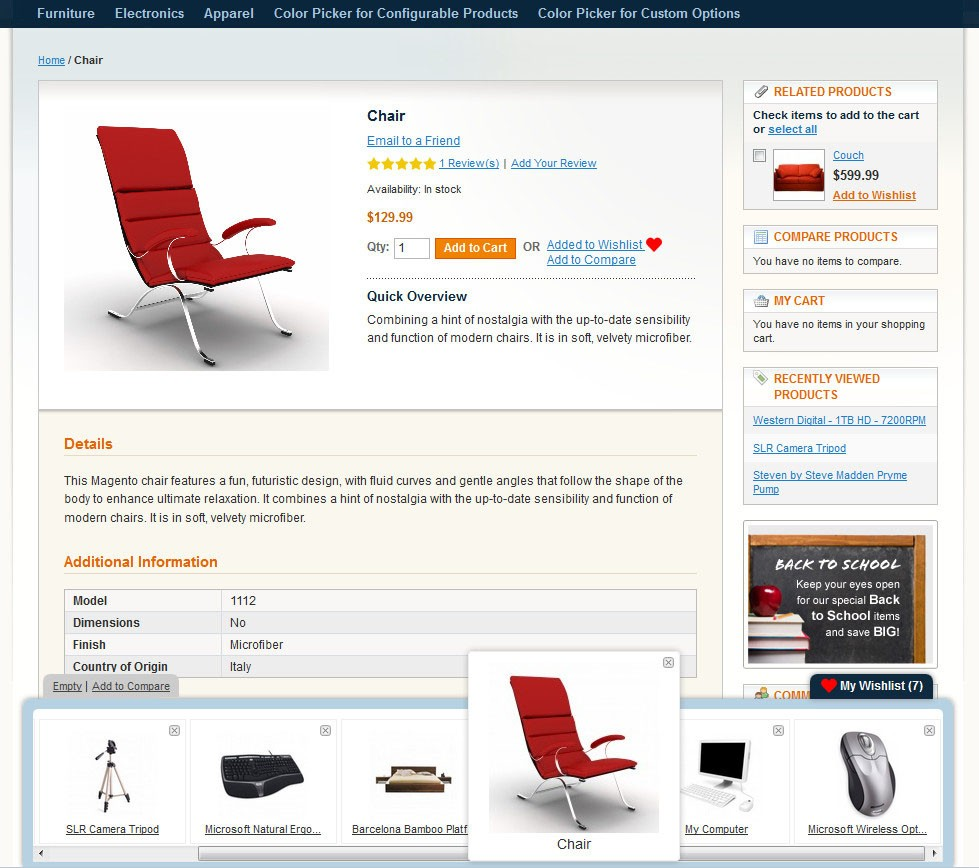 Magento Ajax Wishlist Panel with active product item in panel